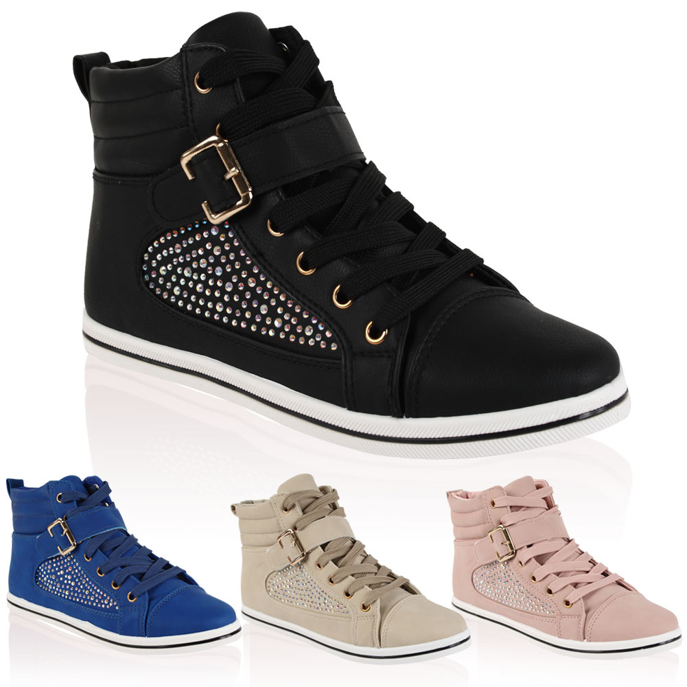 Ladies Faux Leather Diamante Embellished Womens High Top Pumps Trainers Size 4-9