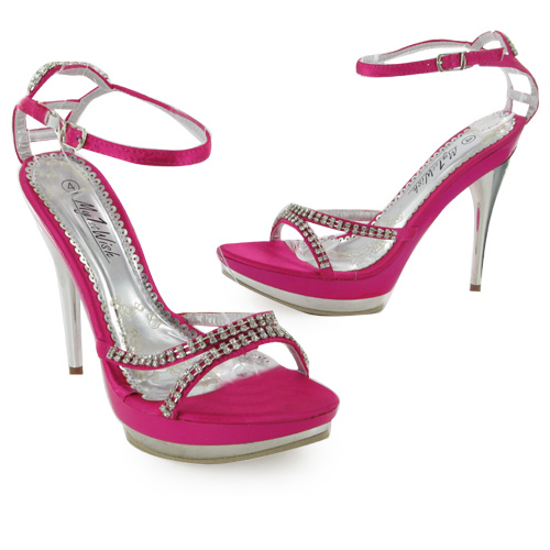 bnib pink strappy high heel prom shoes size 5 uk ebay