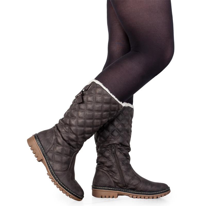 new womens khaki mid calf grip sole fleece lining