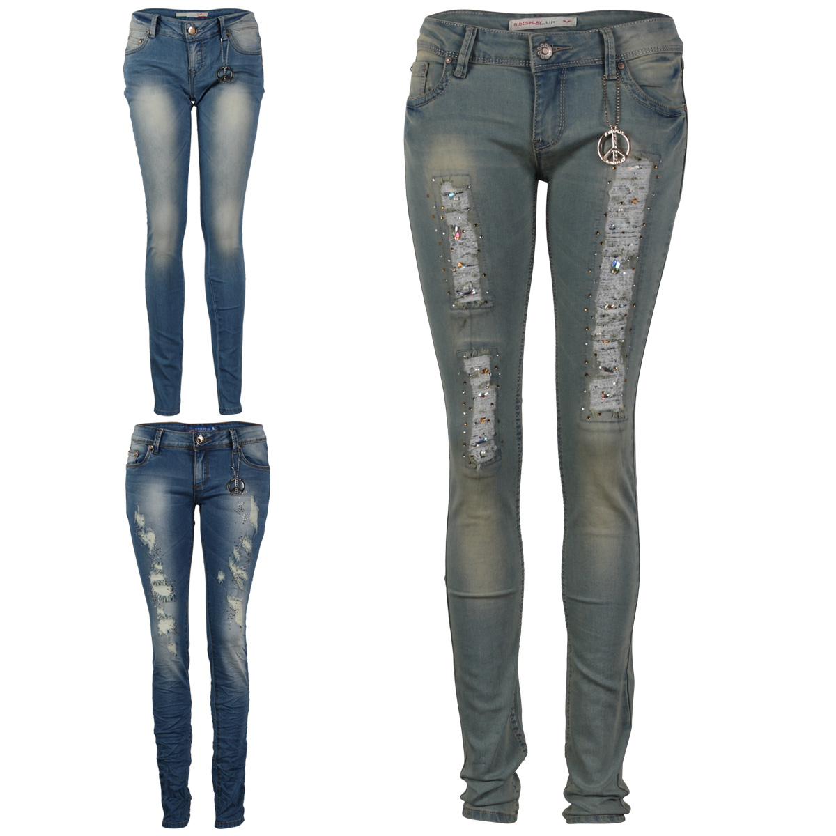 damen blaue frauen verzierte skinny enge zerrissene jeans hose gr 34 42 ebay. Black Bedroom Furniture Sets. Home Design Ideas