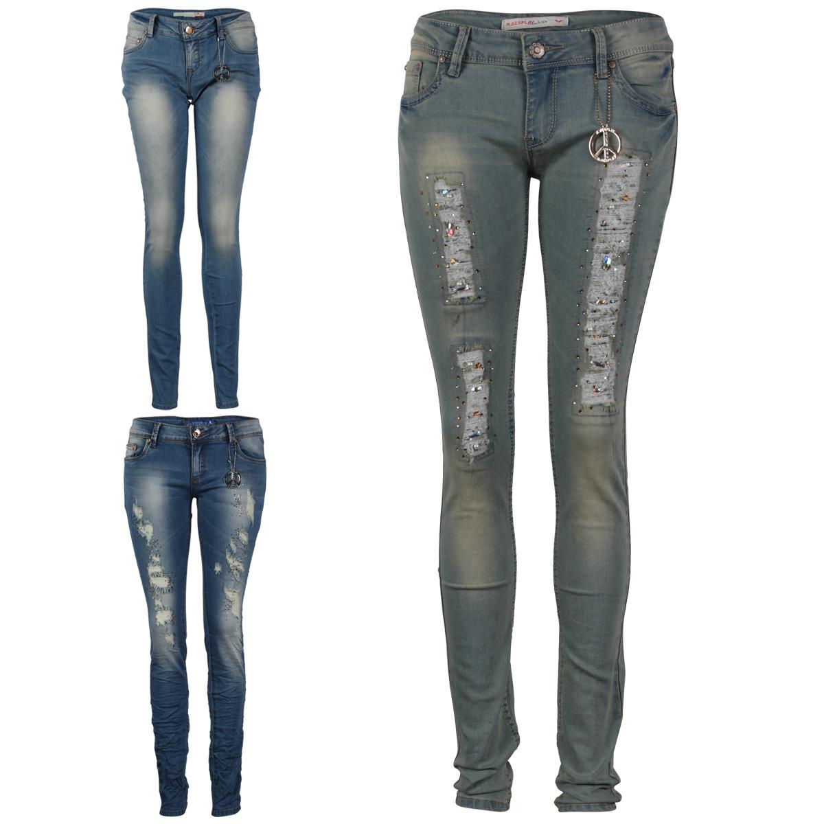 damen blaue frauen verzierte skinny enge zerrissene jeans hose gr 34 42 ebay. Black Bedroom Furniture Sets. Home Design Ideas