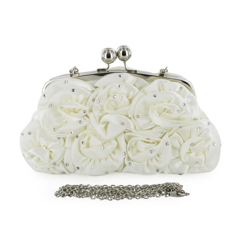 LADIES IVORY WEDDING PROM ROSE PARTY SATIN CLUTCH BAG | EBay