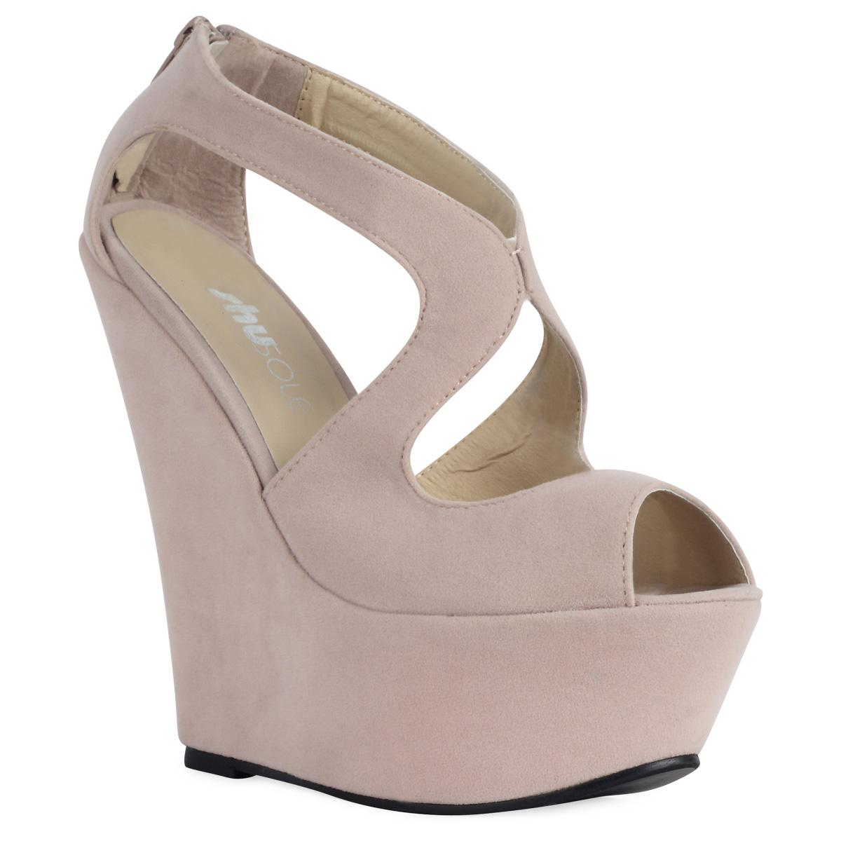 chaussure femme decoupe nude talon haut compense bout ouvert peep toe 36 41 ebay. Black Bedroom Furniture Sets. Home Design Ideas