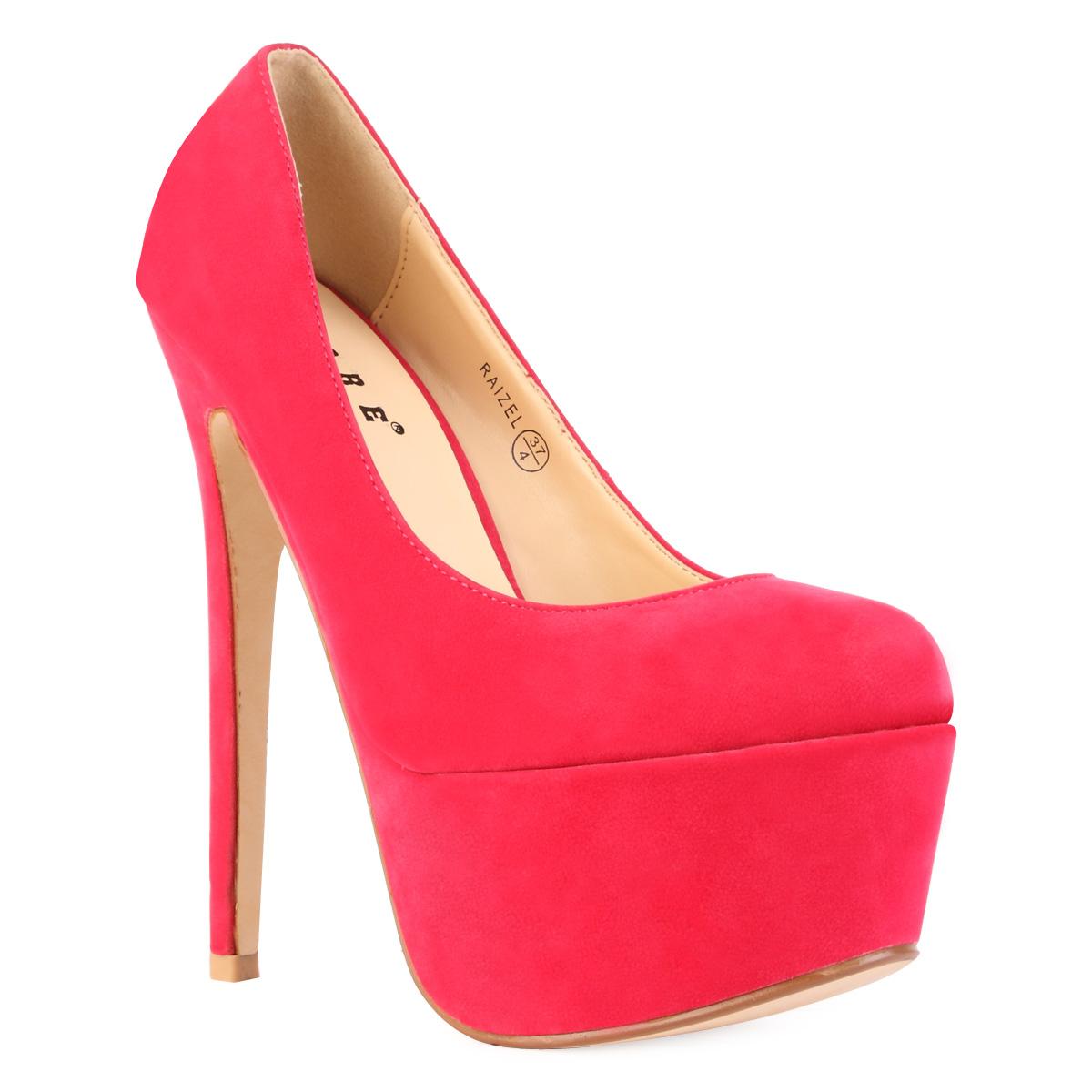 Chaussure Femme Rose Fuchsia Faux Daim Escarpin Compense
