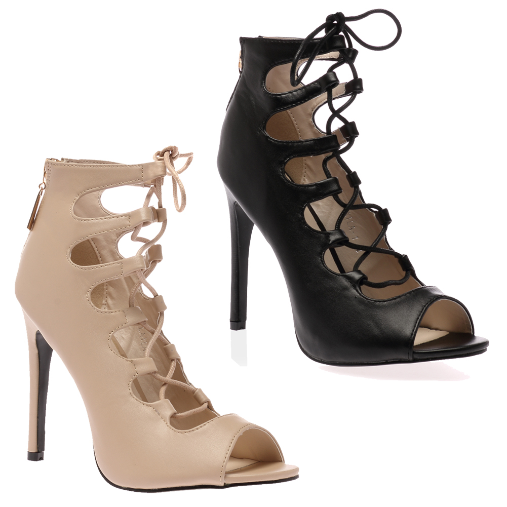 Lace Up Boots High Heel