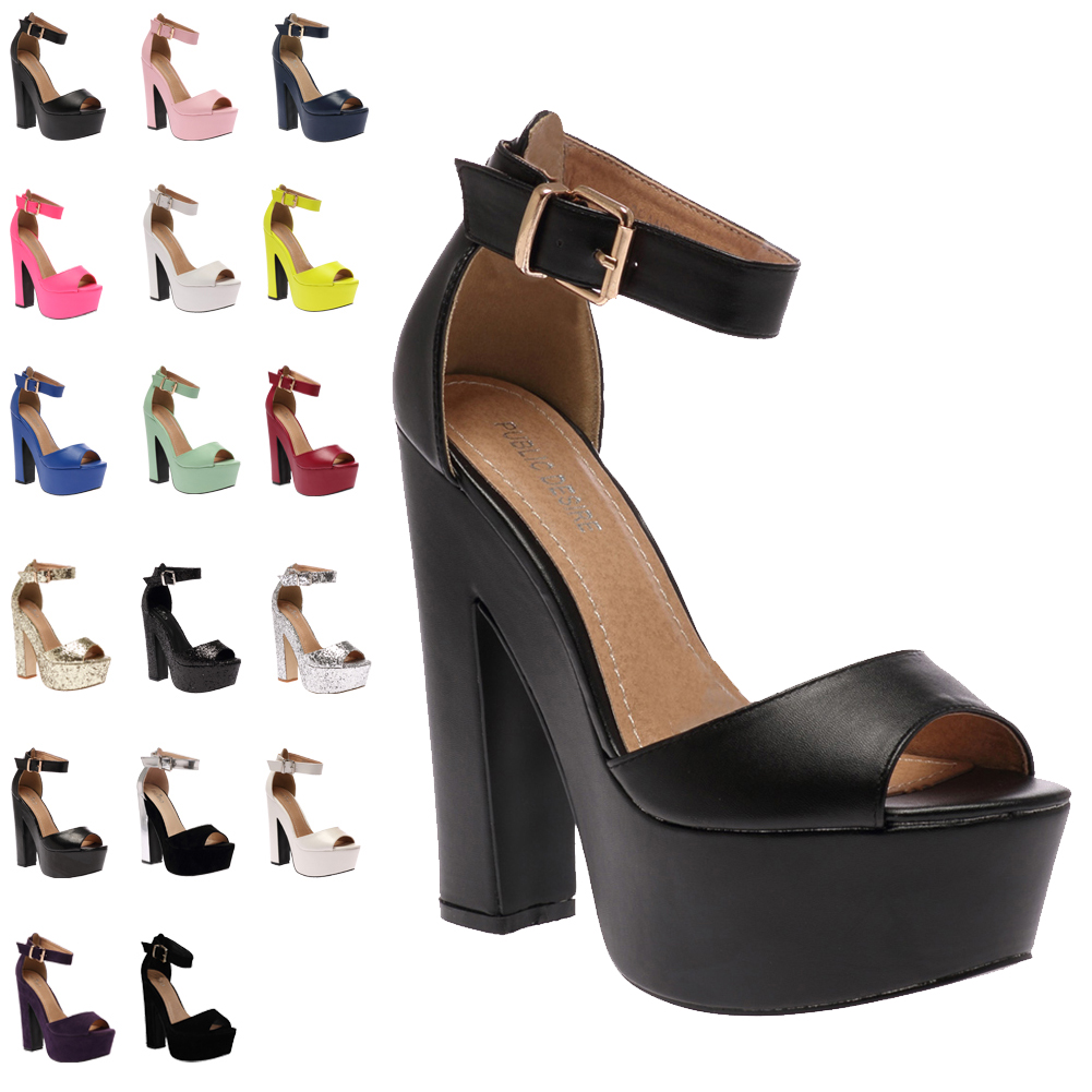 18H WOMENS ANKLE STRAP LADIES PLATFORM PEEP TOE HIGH HEEL SANDALS SHOES SIZE 3-8