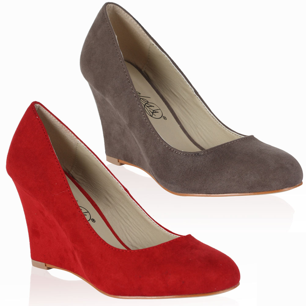 Ladies New Faux Suede Womens Platform Wedge High Heel Court Shoes Size 4-9
