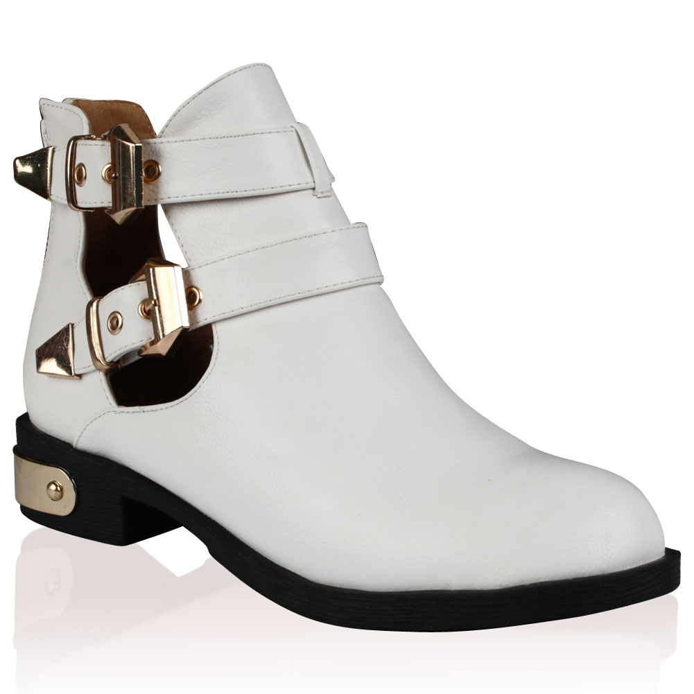 womens white cut out chelsea buckle ankle boots