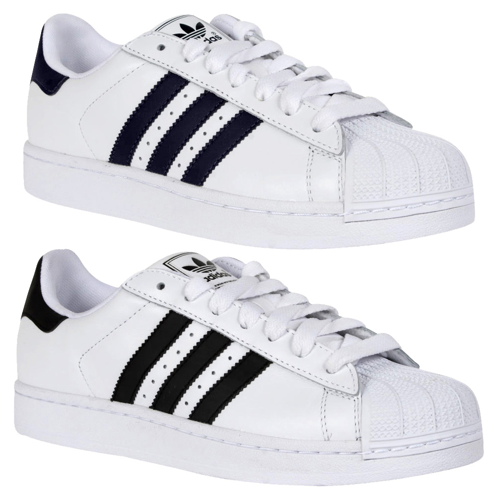NEW ADIDAS ORIGINALS SUPERSTAR II MENS CASUAL LACE UP LEATHER TRAINERS SIZE 6-12