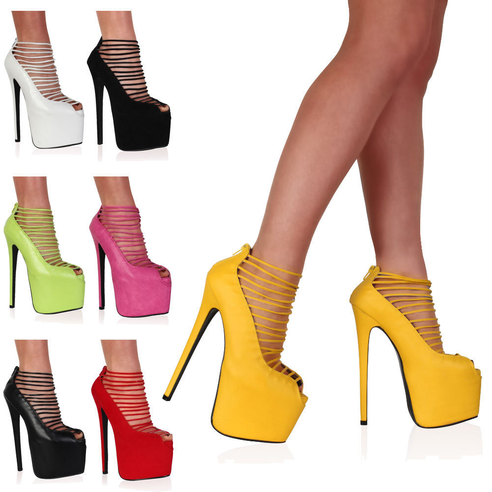 Womens Platform Ladies Strappy 7 Inch Stiletto High Pumps Court Shoes Size 4-9