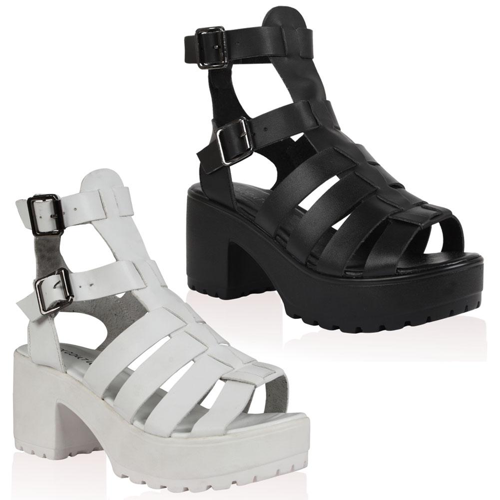 Black sandals chunky - Ladies Strappy Womens Block Heel Peep Toe Gladiator Chunky Sandals Size 5 10