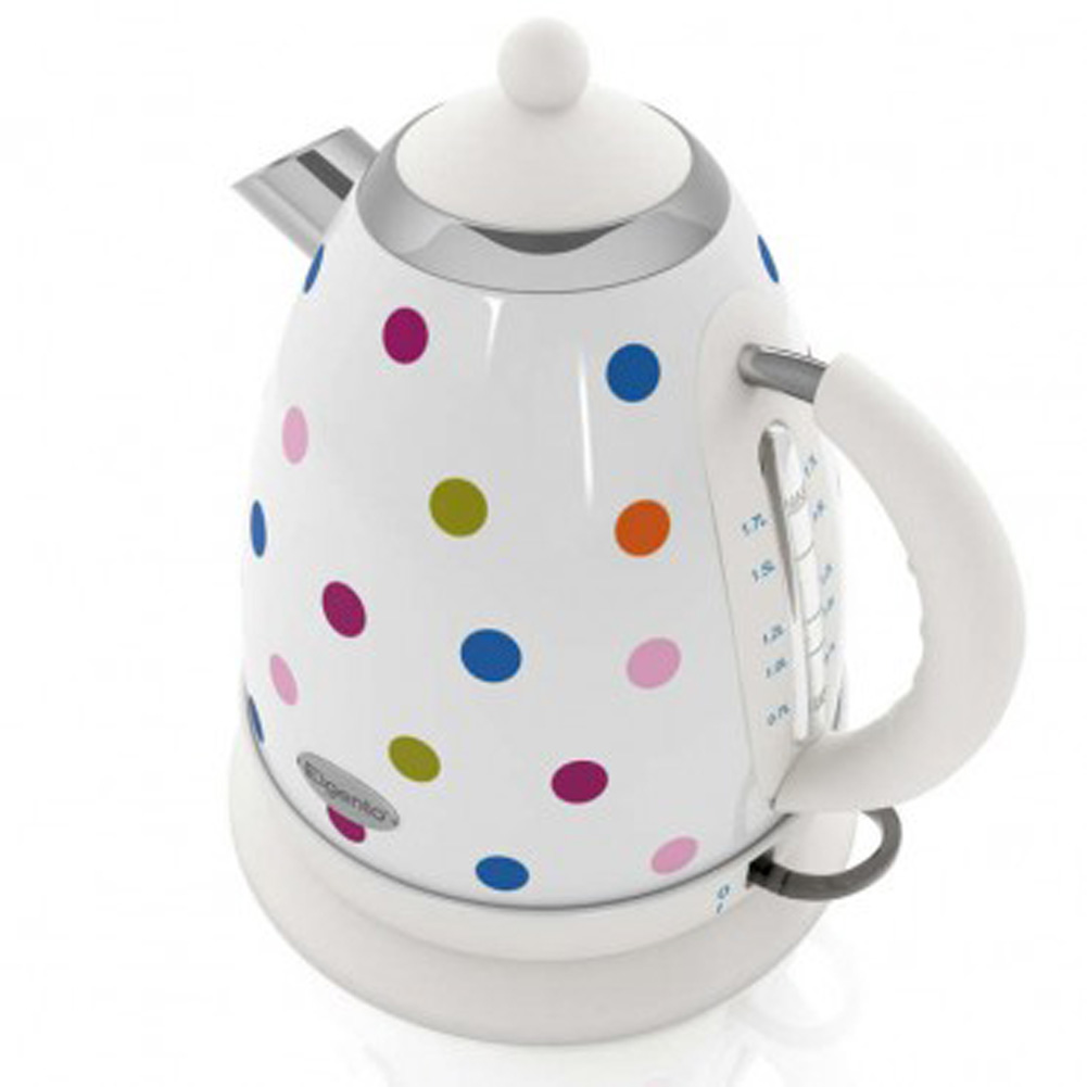 elgento e448wp white multi coloured polka dot stainless steel kitchen jug kettle. Black Bedroom Furniture Sets. Home Design Ideas