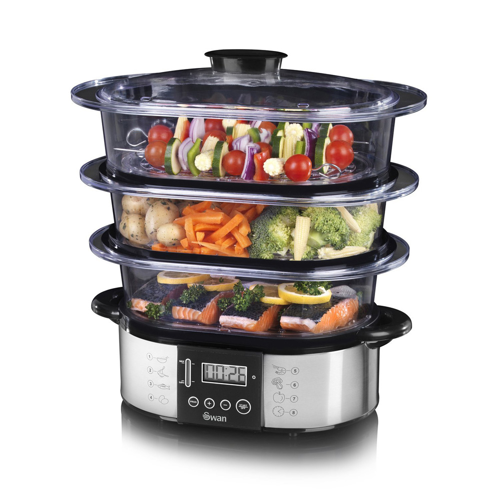 Kitchen Living Food Steamer: Swan SP17020N Stainless Steel 3 Tier Digital Steamer