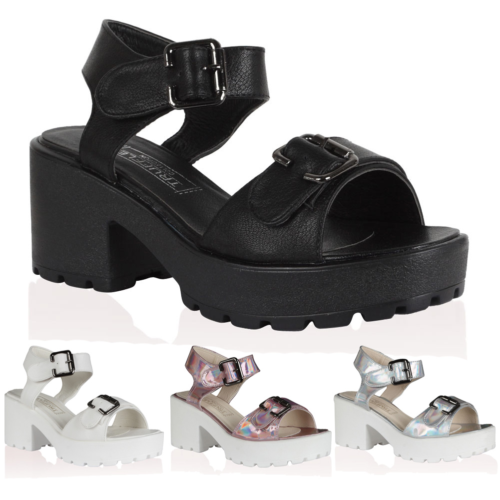 Black sandals chunky heel - New Womens Buckle Strap Sandals Ladies Chunky Heel Cleated Sole Shoes Size 5 10