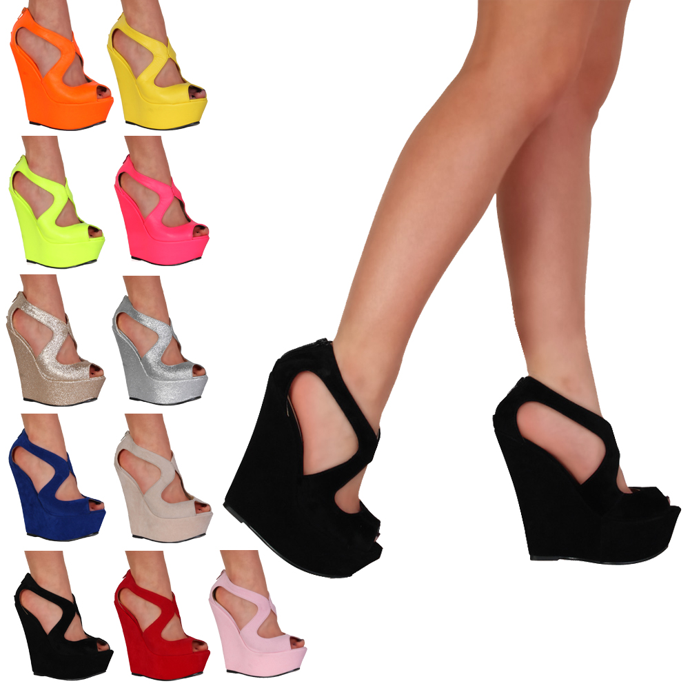 NEW WOMENS CUT OUT LADIES PLATFORM PEEP TOE HIGH HEEL WEDGES SANDALS SIZE 3-8