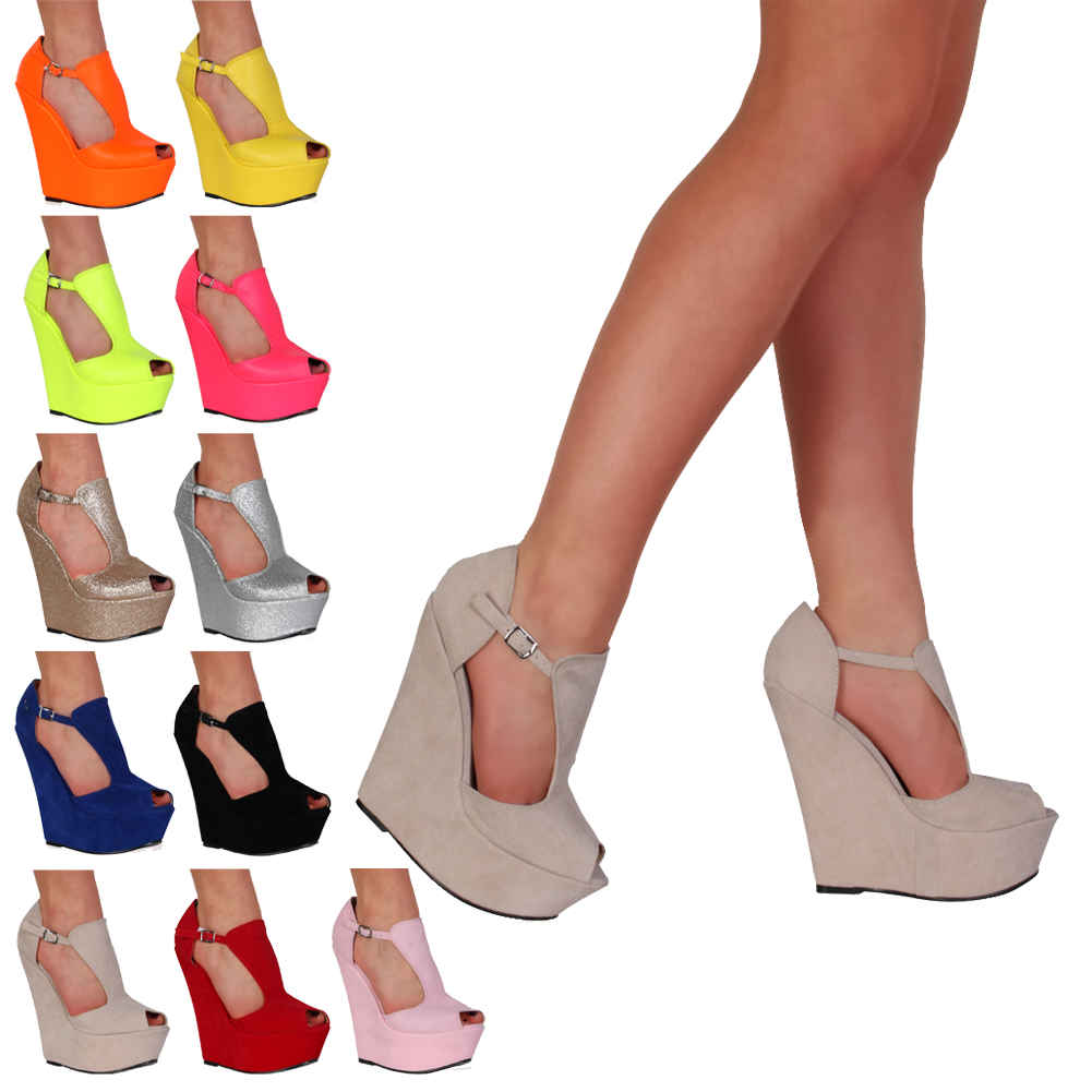 New Ladies Platform Womens Peep Toe Summer T-Bar Wedge High Heel Shoes Size 3-8