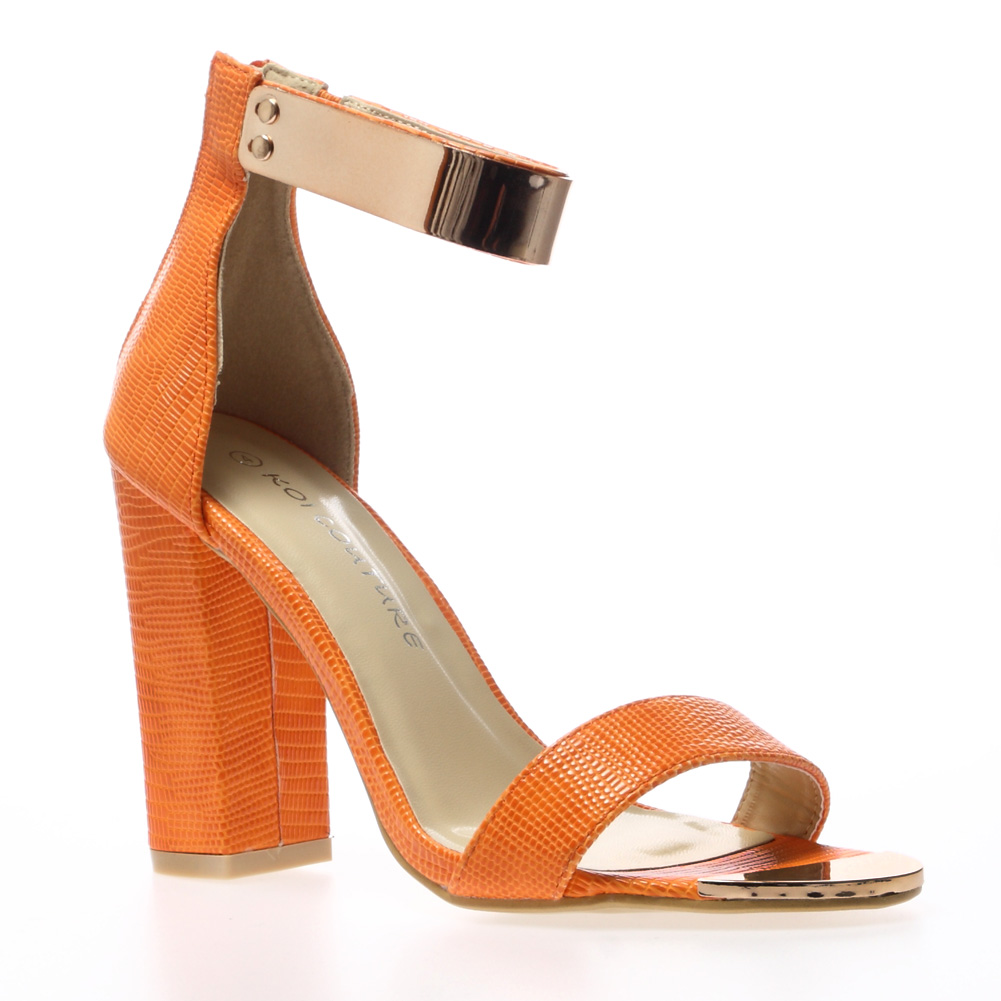 Orange Block Heel Shoes