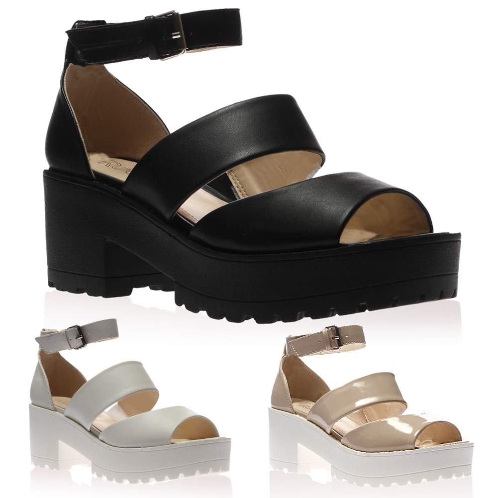 Ladies Ankle Strap Womens Cleated Sole Mid Chunky Heel Sandals