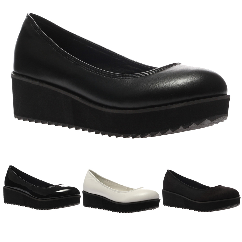 New Ladies Slip On Womens Geek Flat Cleated Sole Flatform Pumps Shoes Size 4-9