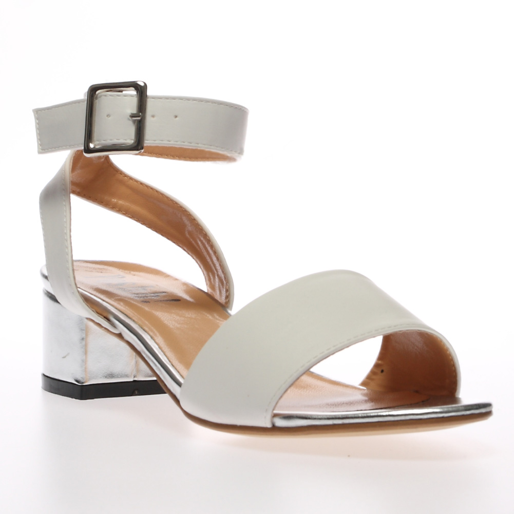 Mid Block Heels Summer Shoes Leather Brown