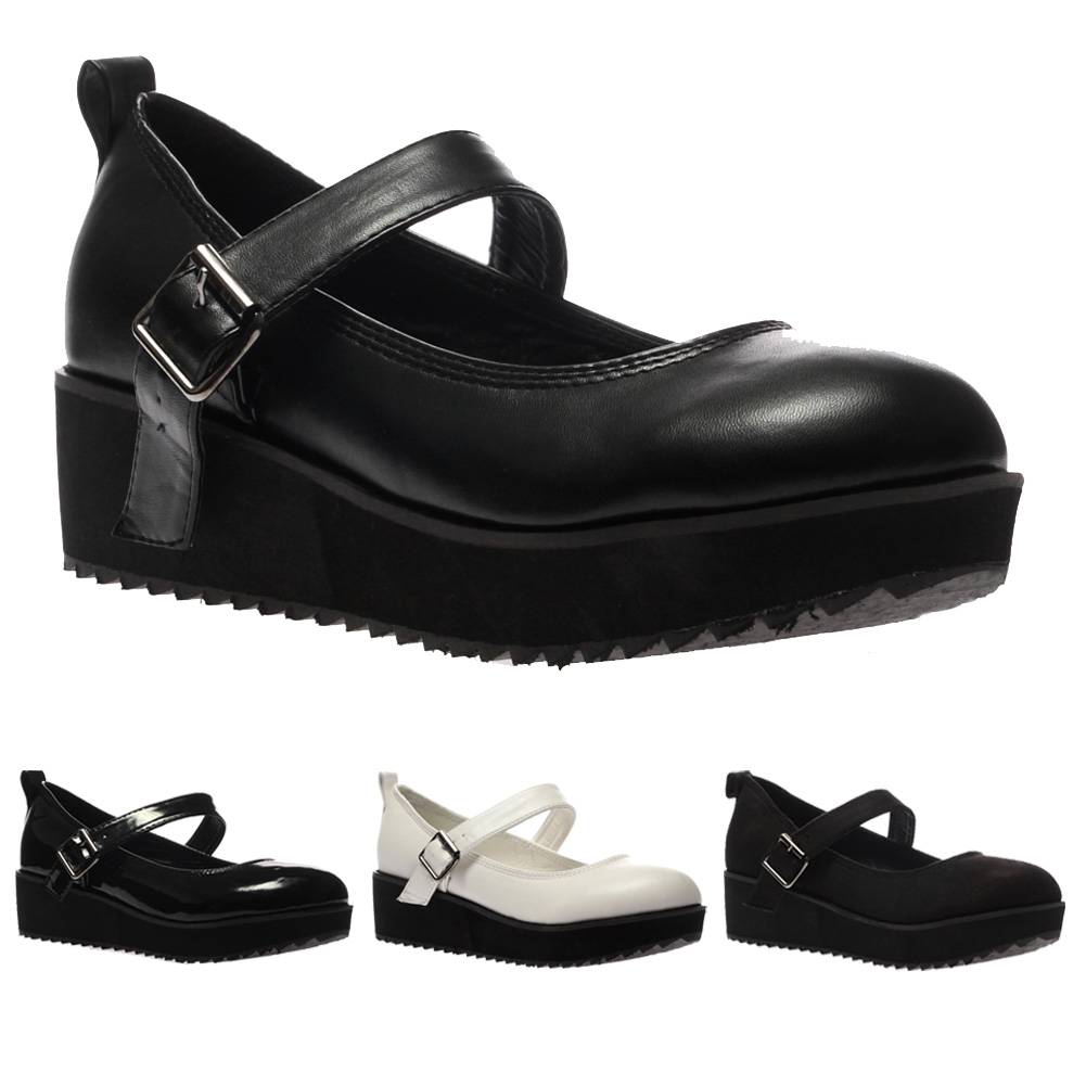 New Ladies Mary Jane Womens Flatform Cleated Low Platform Sandals Shoes Size 5-1