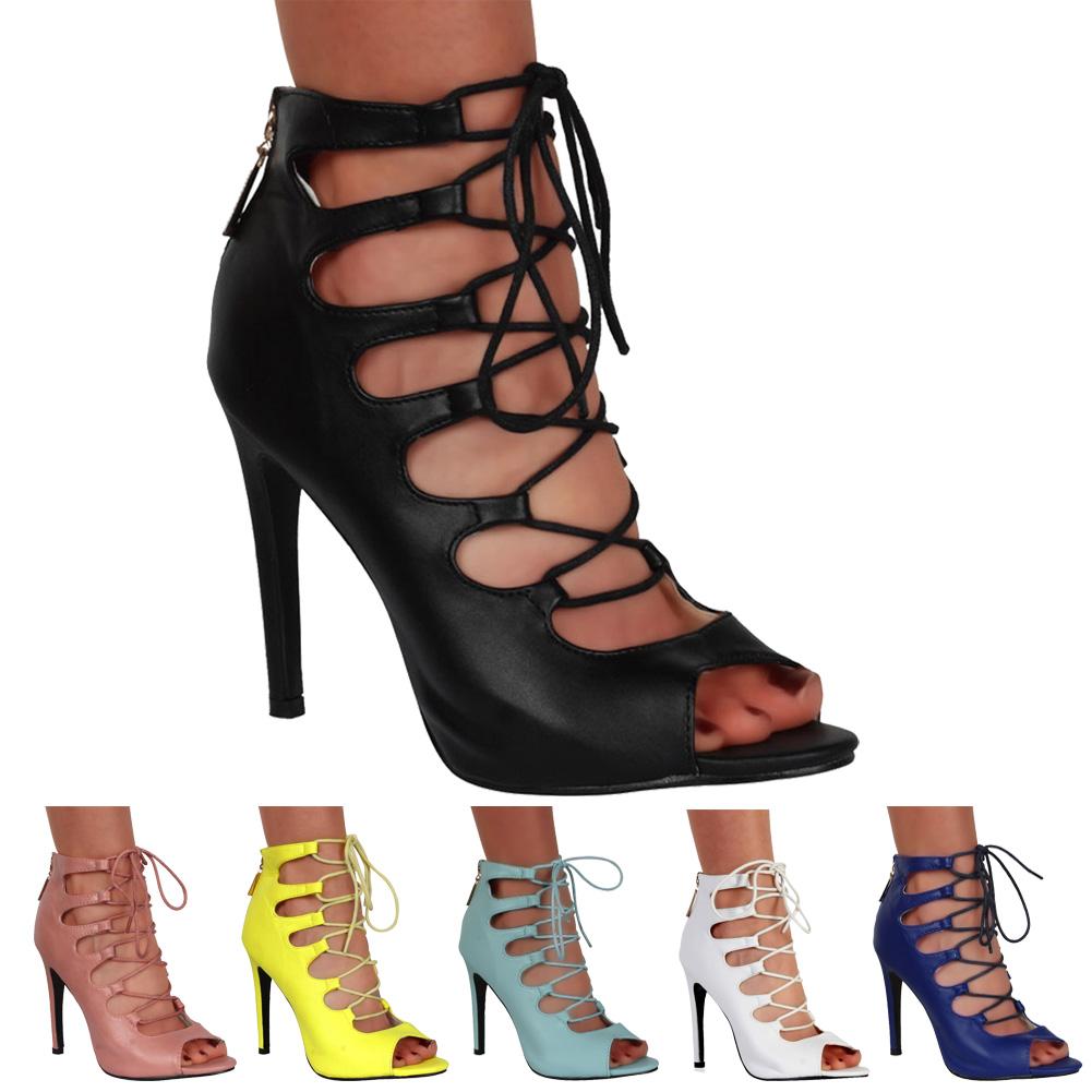 bottines femmes lacet bout ouvert talon haut chaussures sandales taille 36 41. Black Bedroom Furniture Sets. Home Design Ideas