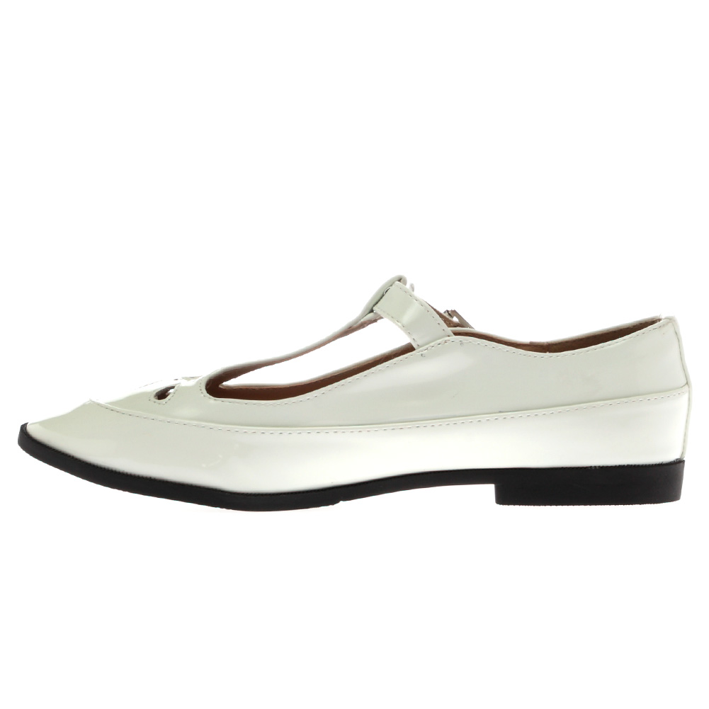 NEW WOMENS GEEK STYLE LADIES CUT OUT WHITE FLAT MARY JANE PUMPS SHOES SIZE 3-8 | EBay