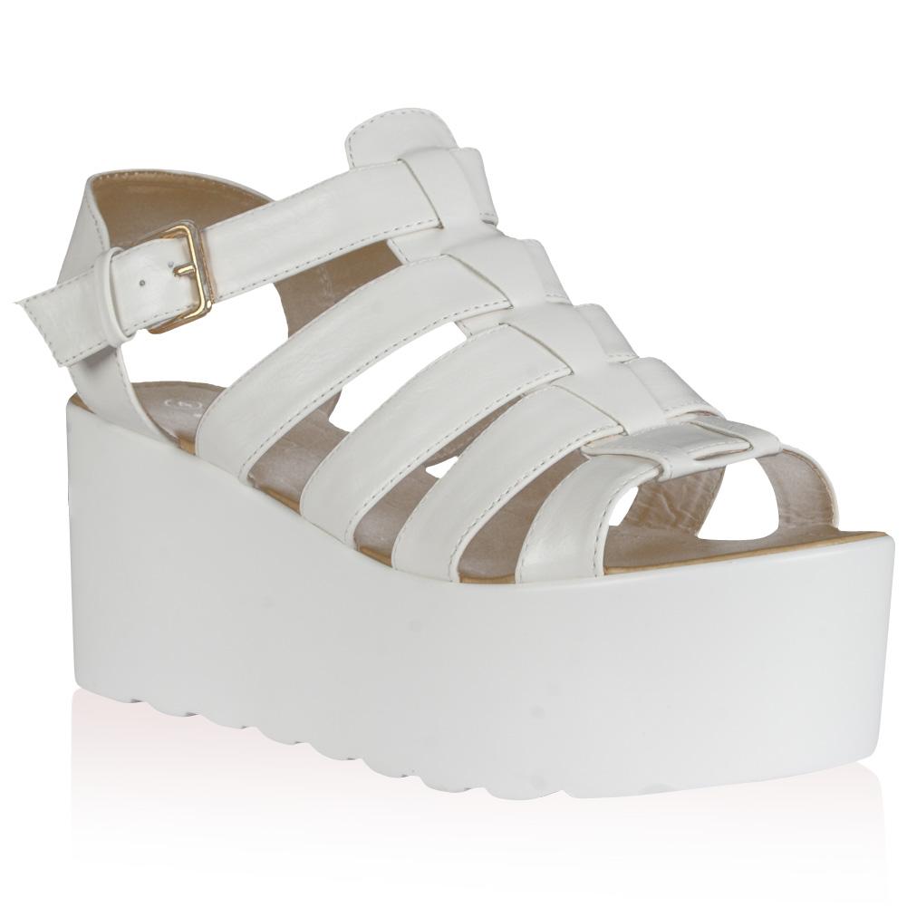 Womens Flatform Ladies Chunky Wedge Block Summer Gladiator Sandals ...