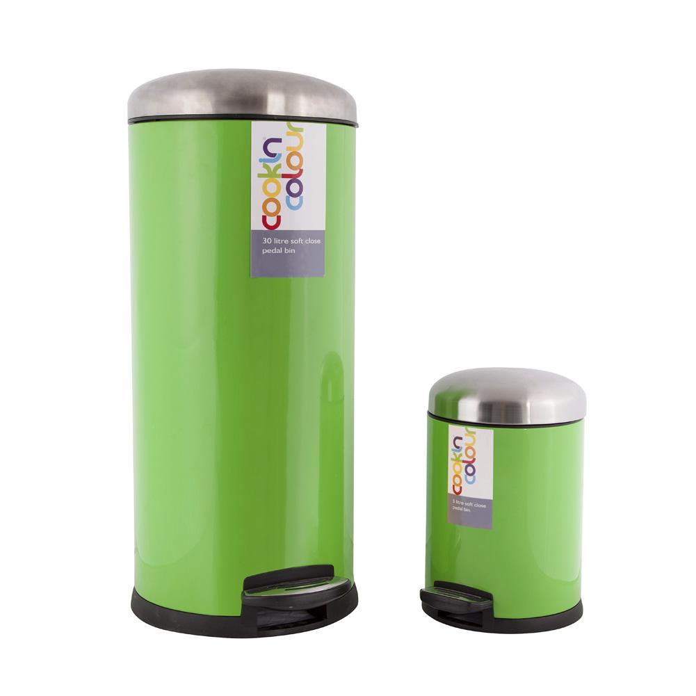 Green Kitchen Bin: New Lime Green Stainless Steel Round Soft Close Kitchen