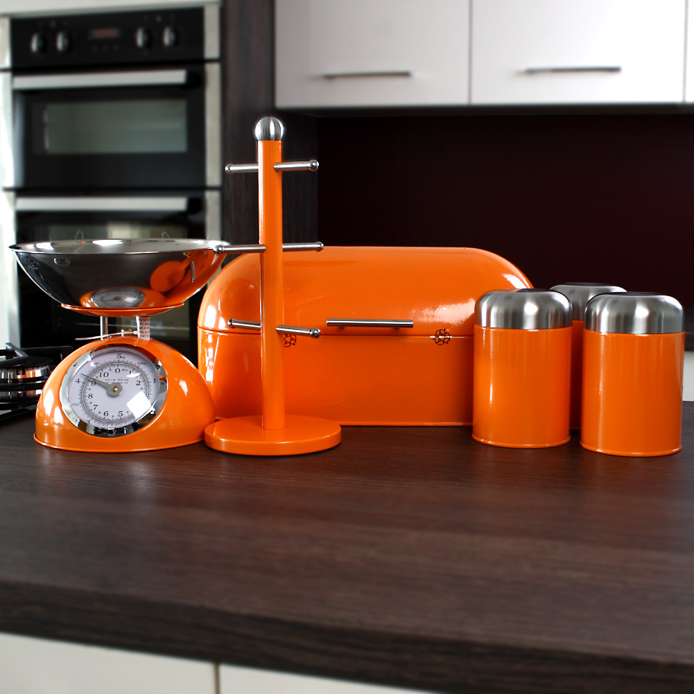 Set of 3 orange dome canisters unique home living for Kitchen set orange