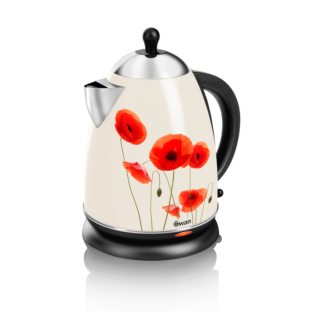 Poppy Print Swan Kettle Unique Home Living