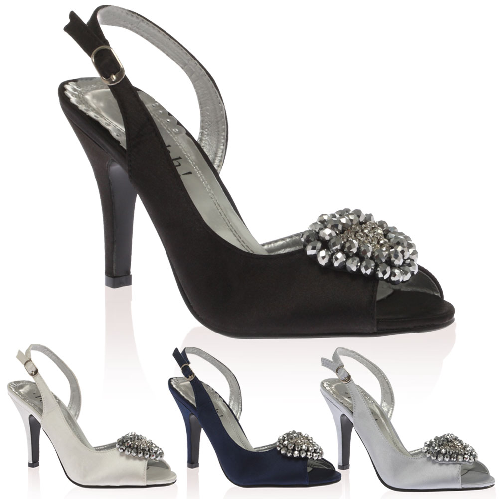 Ladies Satin Diamante Peep Toe Womens Slingback High Heeled Court Shoes Size 3-8
