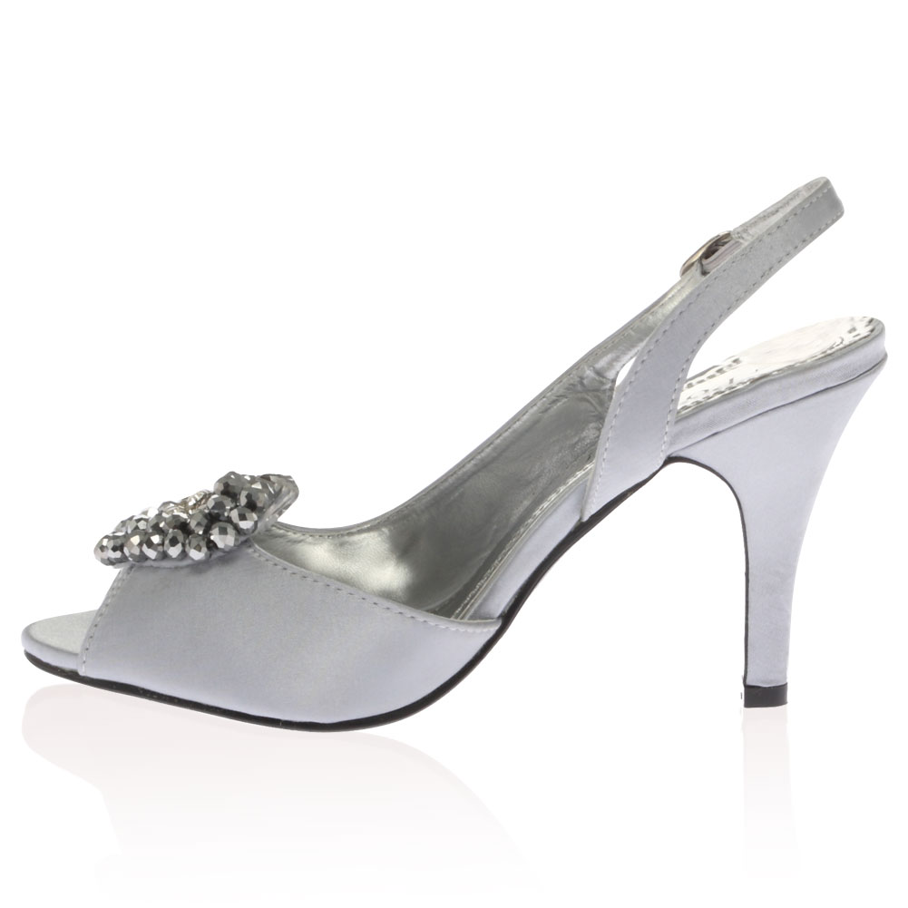 new satin diamante peep toe womens high heeled prom