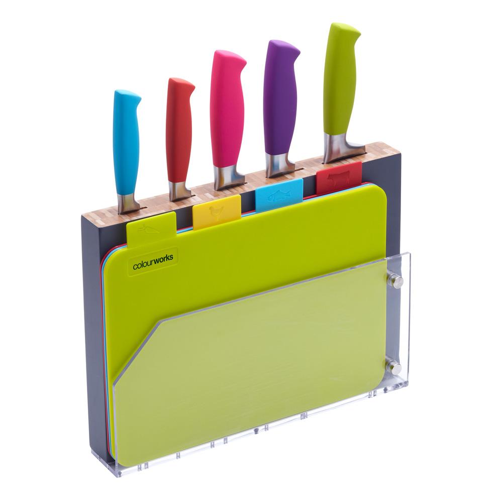 multi coloured knife block amp chopping boards set unique swiss q coloured kitchen knives set bonabona toys amp gadgets