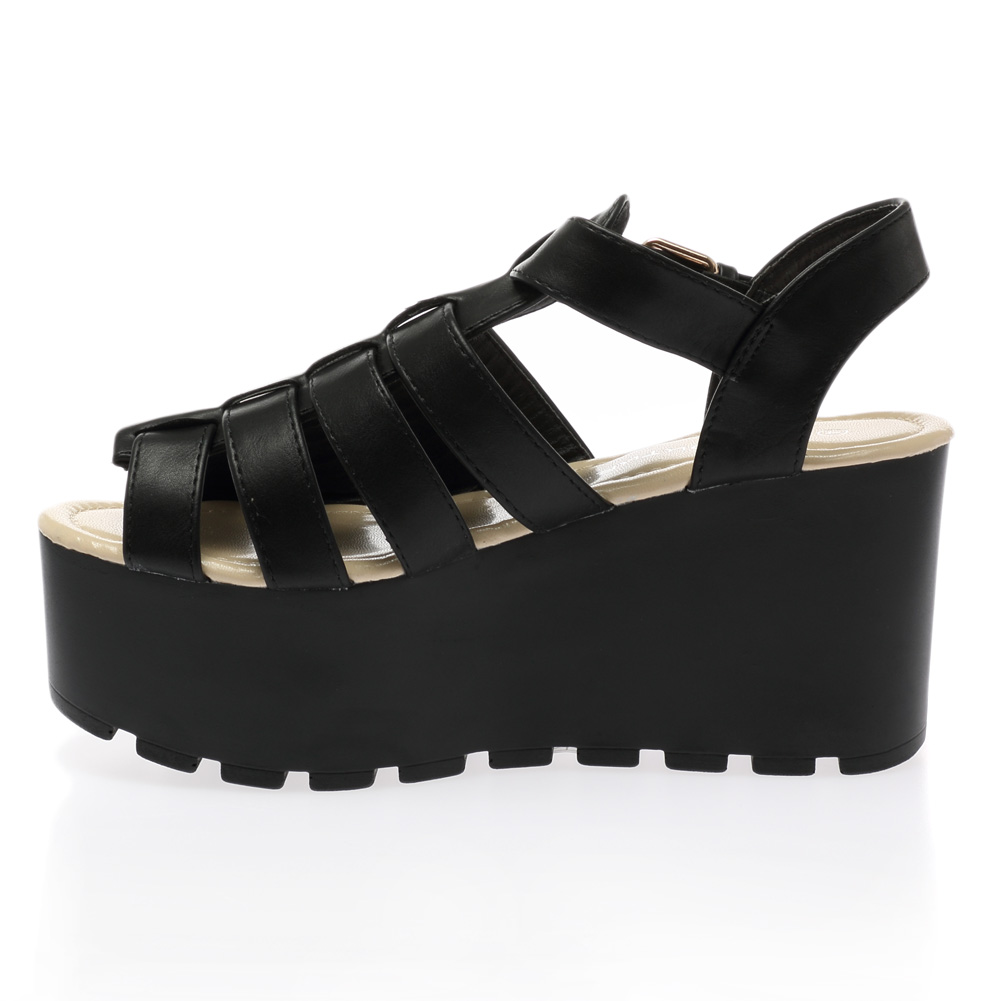 womens flatform chunky wedge cleated sole gladiator