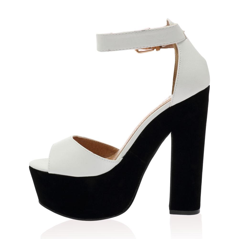 chunky peep toe womens summer strappy high heel