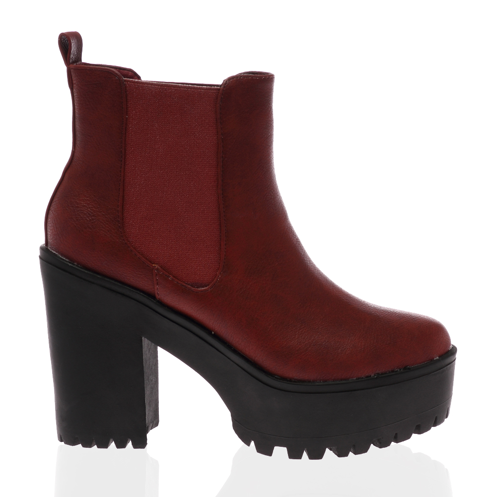24O WOMENS PLATFORM LADIES CLEATED SOLE CHUNKY HEEL CHELSEA BOOTS ...