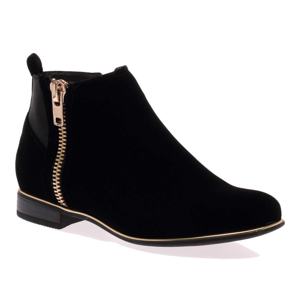 New Ladies Zip Up Womens Flat Gold Plated Ankle Pixie Low Boots ...