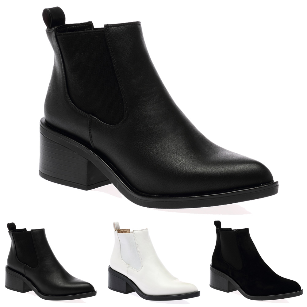 NEW WOMENS CHUNKY MID HEEL LADIES POINTY TOE CHELSEA ANKLE BOOTS ...