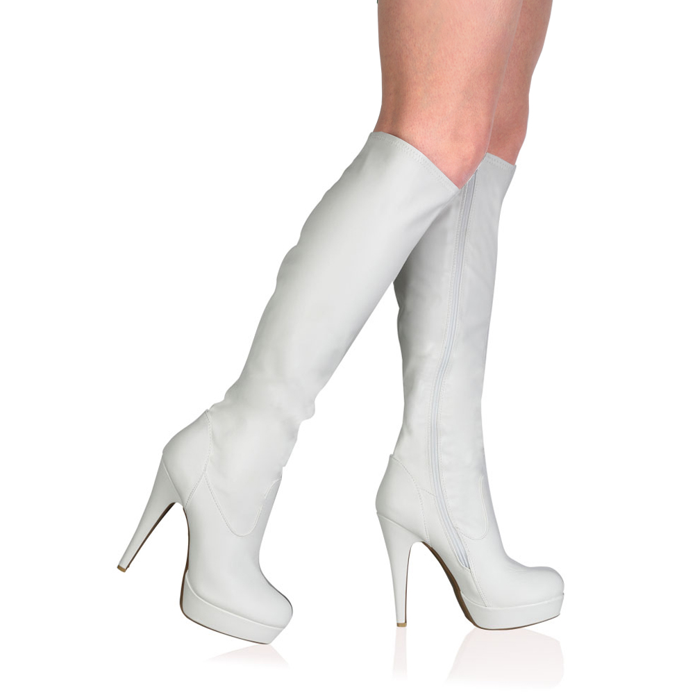new womens zip up white pu stiletto heel knee high