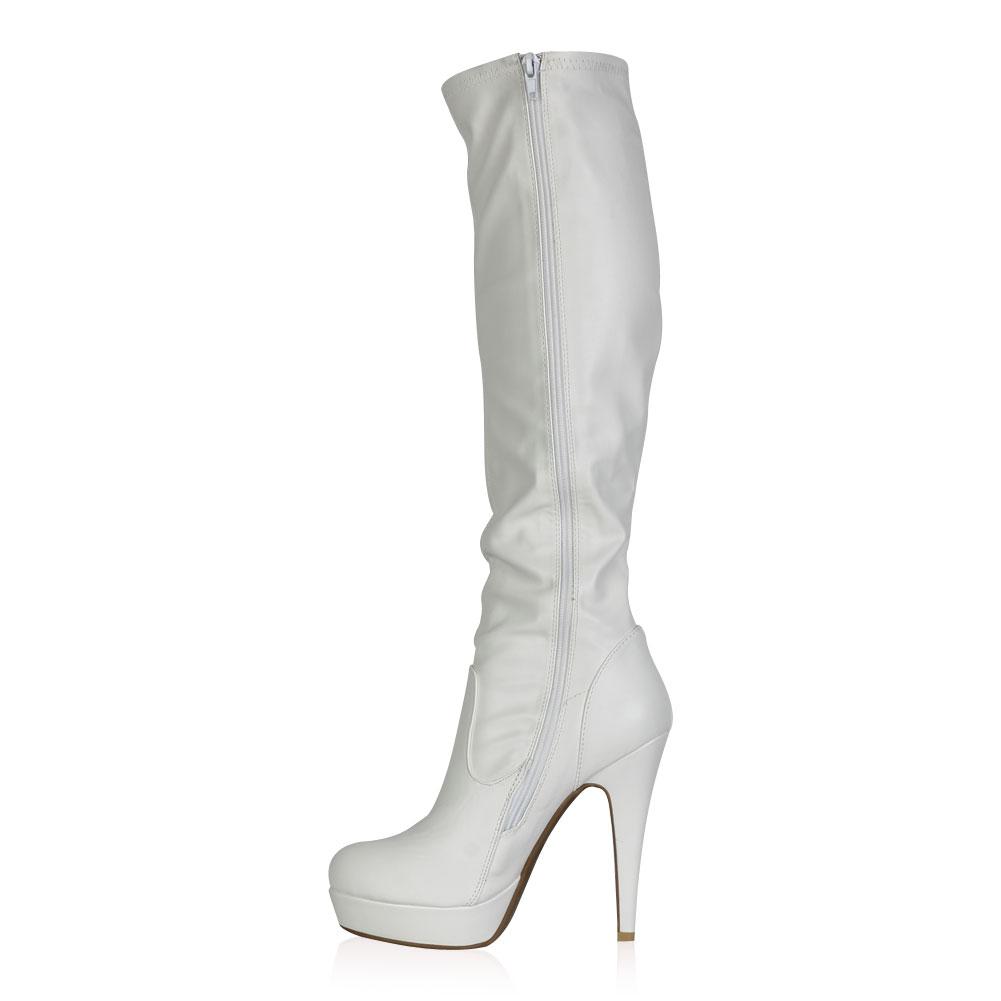 new womens zip up white pu stiletto heel knee high