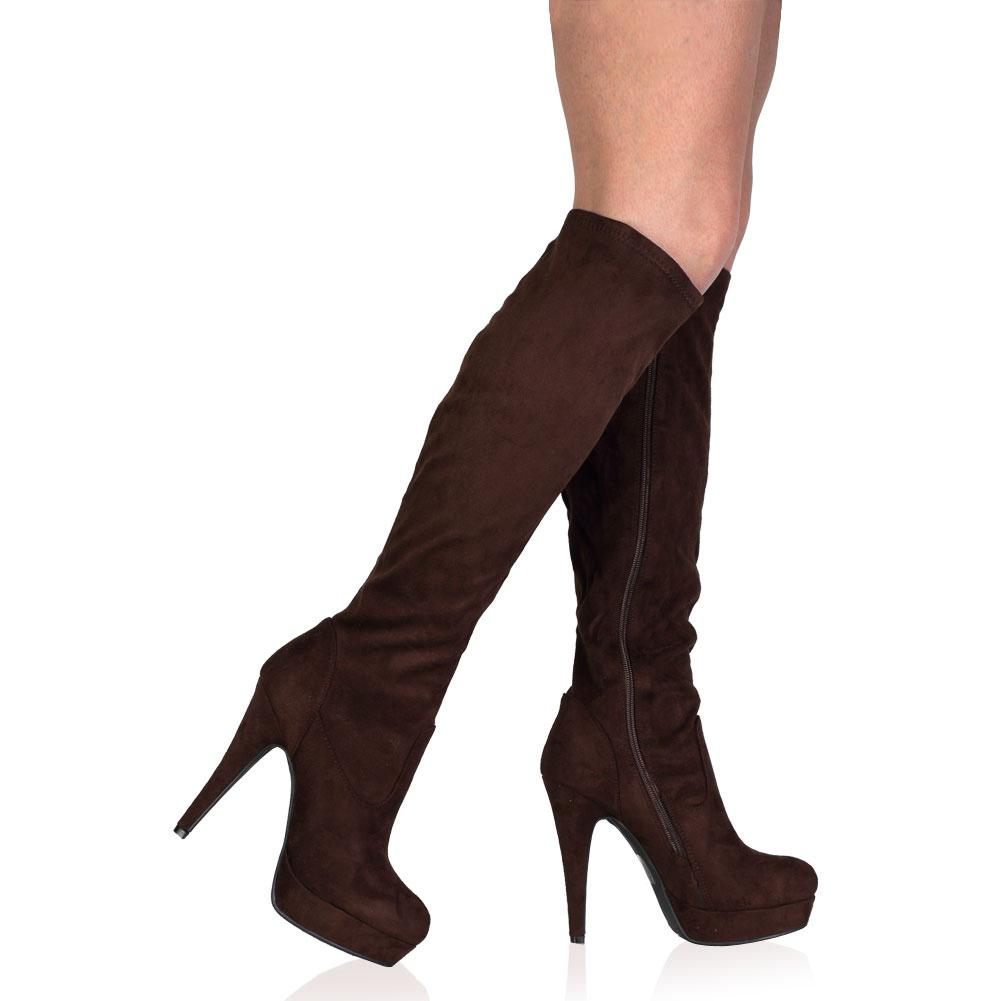 new platform womens knee high zip up stiletto