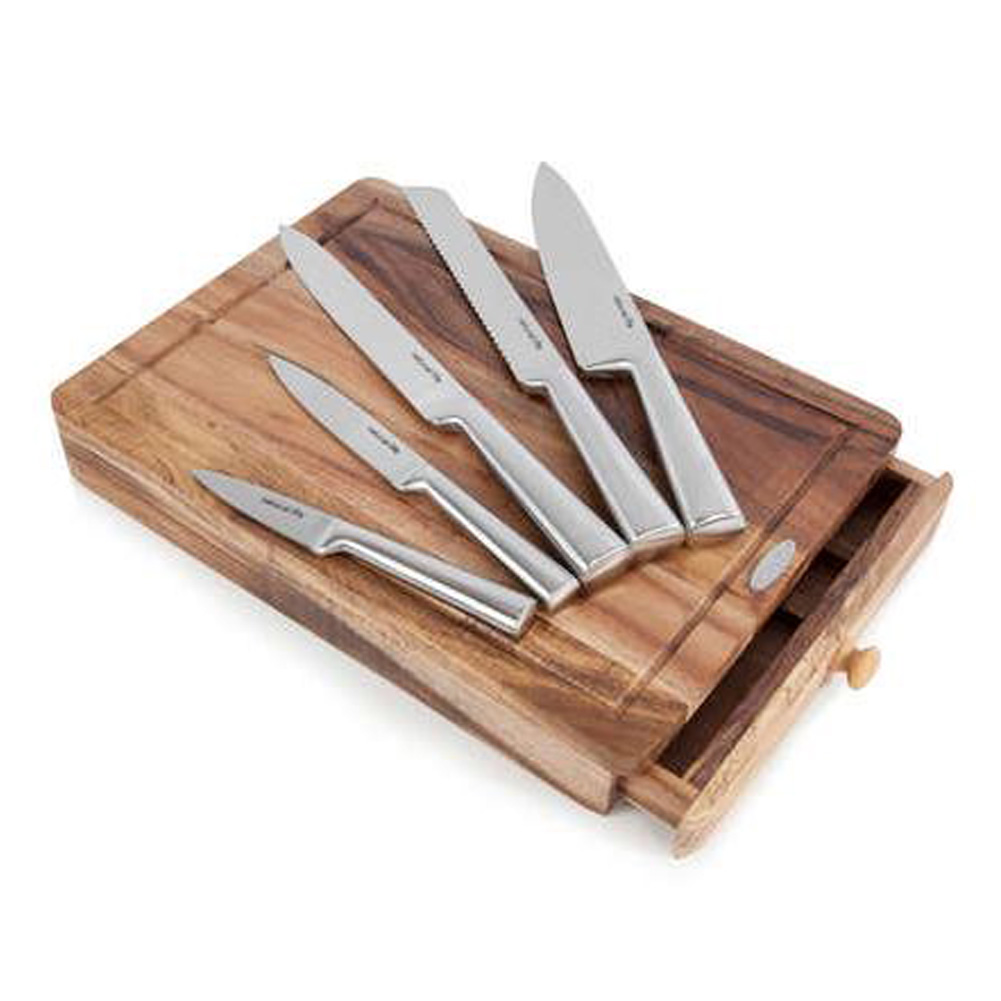 Knife and cutting board set unique home living for Kitchen knife set of 7pcs with cutting board