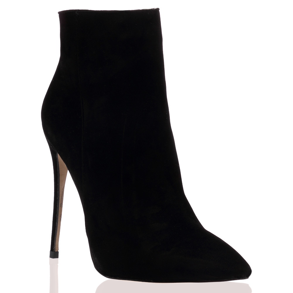 WOMENS BLACK FAUX SUEDE STILETTO LADIES POINTED TOE ZIP UP ANKLE ...