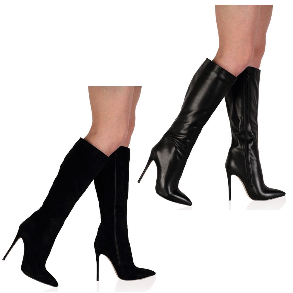 Excellent WomensLadiesHighChunkyHeelKneeLengthStretchRidingBootsShoes