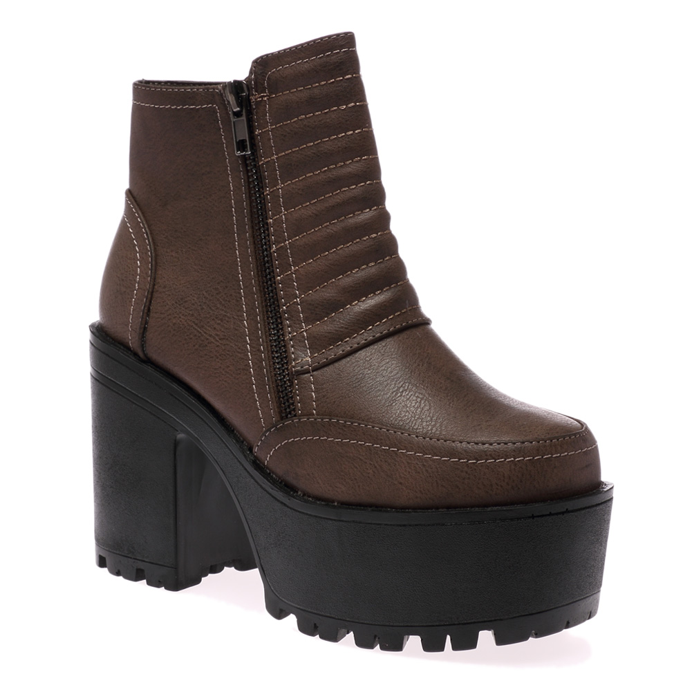 new ribbed high heel cleated sole womens zip ankle