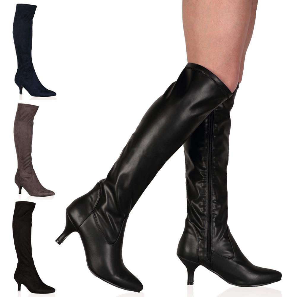 New Ladies Knee Length Fitted Autumn Womens Kitten Heel Zip Boots ...