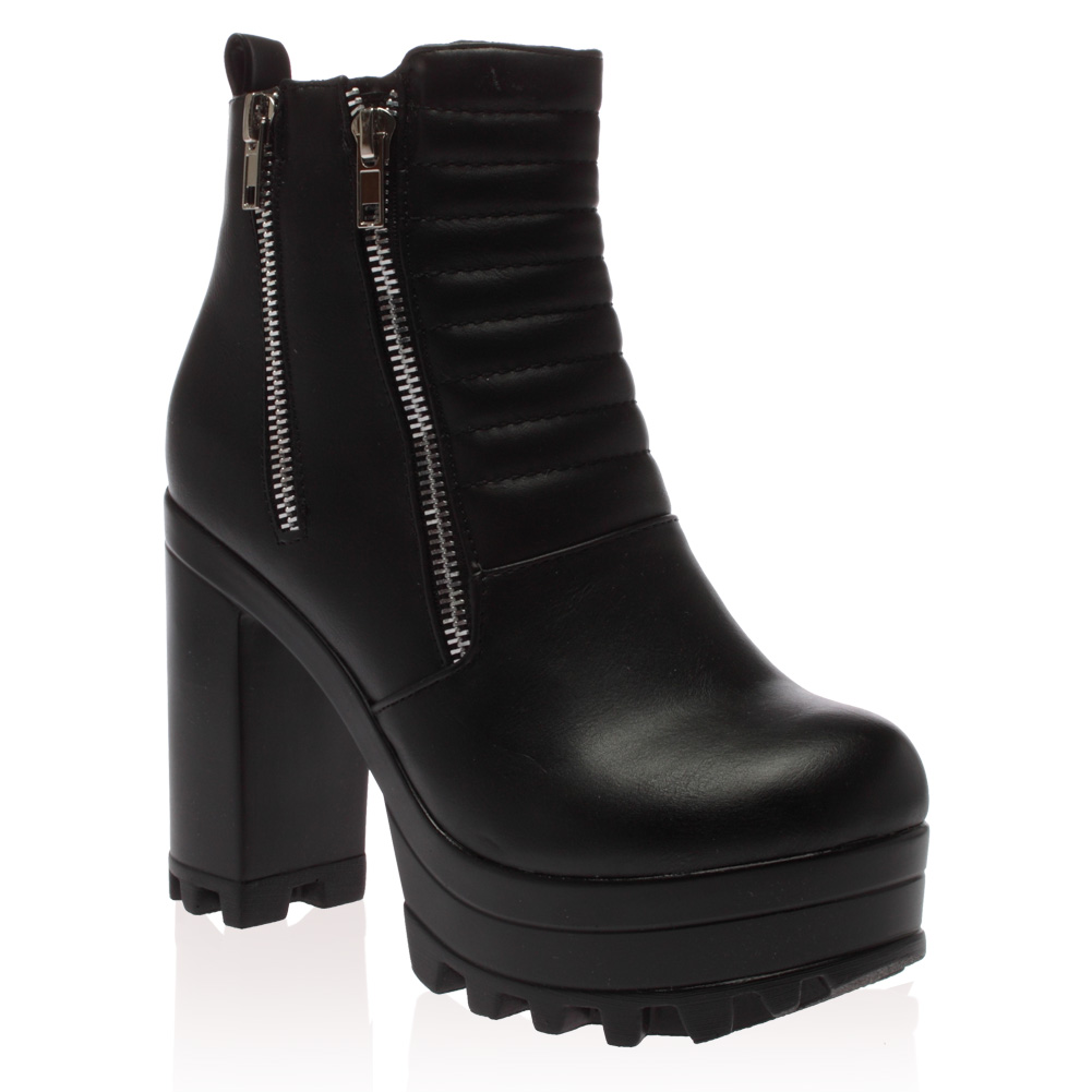 womens cleated chunky block heel black ankle boots