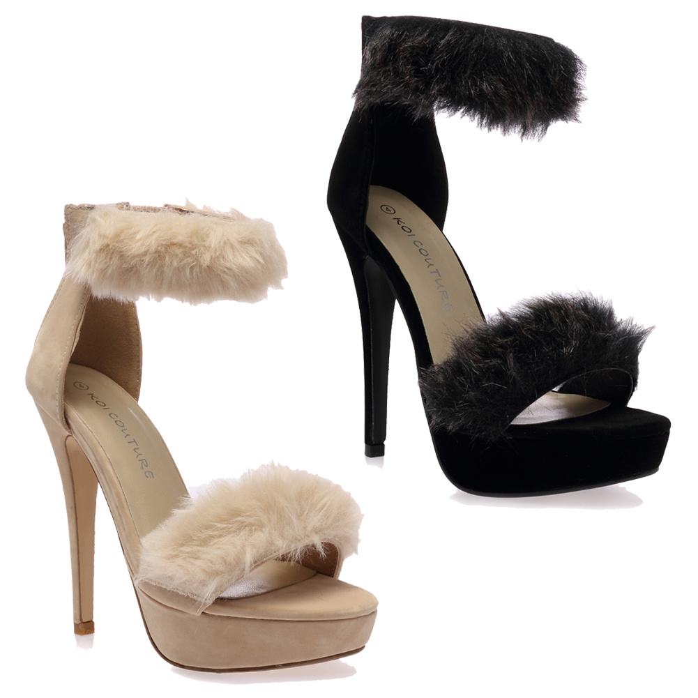 30D WOMENS ANKLE STRAP LADIES FLUFFY FAUX FUR STILETTO HIGH HEELS