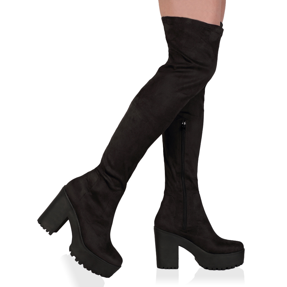 Over The Knee Platform Boots - Cr Boot